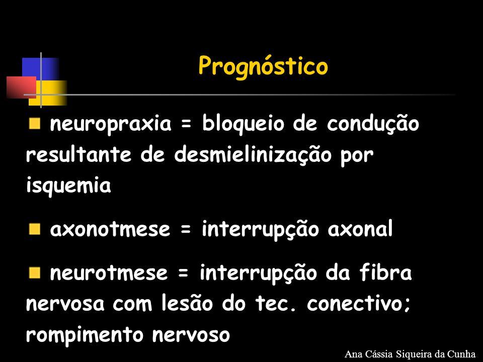 neuropraxia = bloqueio de condução resultante de desmielinização por isquemia axonotmese = interrupção axonal neurotmese = interrupção da fibra nervosa com lesão do tec.