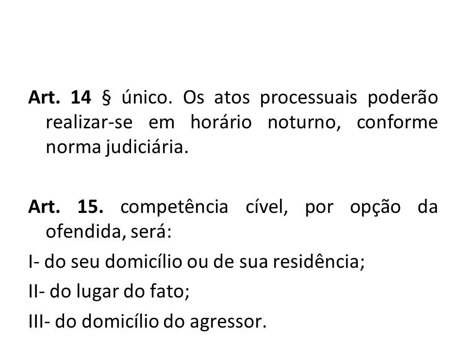 Art. 14 § único. Os atos processuais poderão realizar-se em horário noturno, conforme norma judiciária. Art. 15. competência cível, por opção da ofend