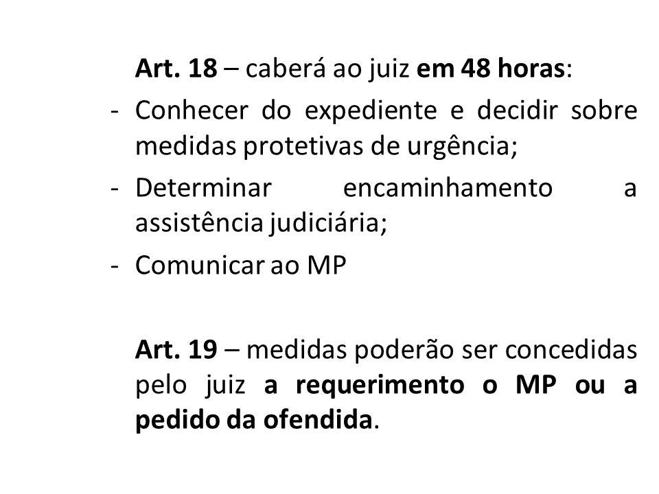 Art. 18 – caberá ao juiz em 48 horas: -Conhecer do expediente e decidir sobre medidas protetivas de urgência; -Determinar encaminhamento a assistência