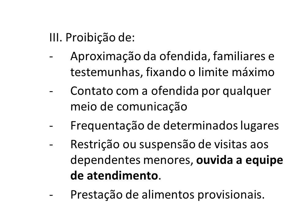 III. Proibição de: -Aproximação da ofendida, familiares e testemunhas, fixando o limite máximo -Contato com a ofendida por qualquer meio de comunicaçã
