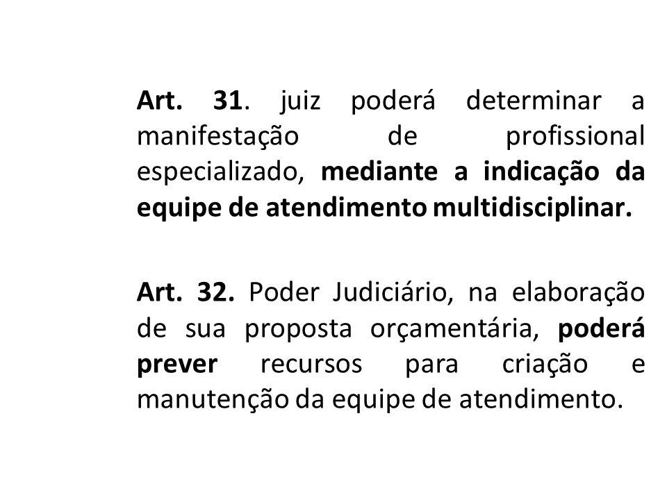 Art. 31. juiz poderá determinar a manifestação de profissional especializado, mediante a indicação da equipe de atendimento multidisciplinar. Art. 32.