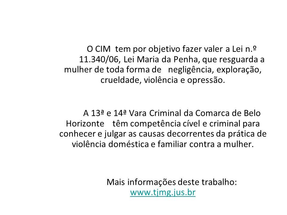 O CIM tem por objetivo fazer valer a Lei n.º 11.340/06, Lei Maria da Penha, que resguarda a mulher de toda forma de negligência, exploração, crueldade