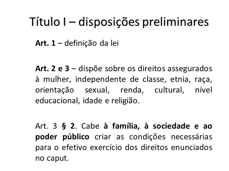 Título I – disposições preliminares Art. 1 – definição da lei Art. 2 e 3 – dispõe sobre os direitos assegurados à mulher, independente de classe, etni