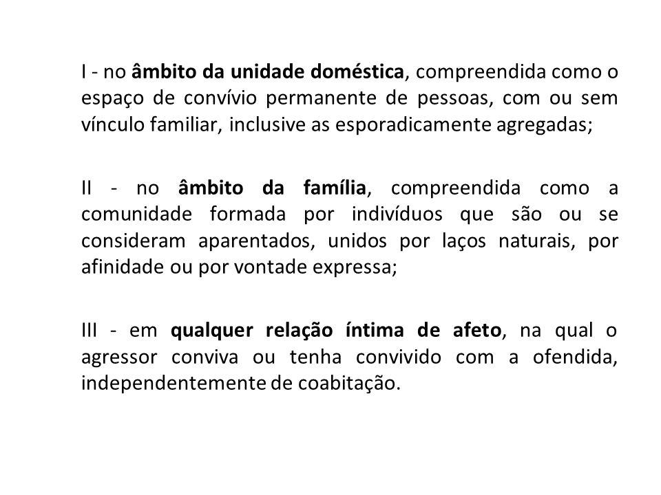 I - no âmbito da unidade doméstica, compreendida como o espaço de convívio permanente de pessoas, com ou sem vínculo familiar, inclusive as esporadica