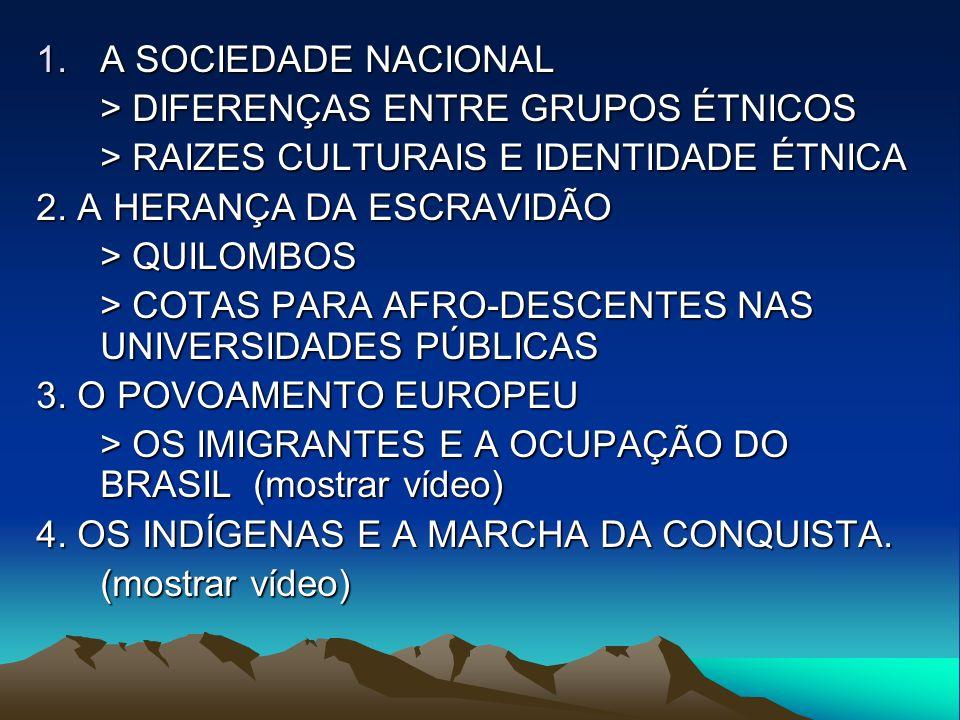 1.A SOCIEDADE NACIONAL > DIFERENÇAS ENTRE GRUPOS ÉTNICOS > RAIZES CULTURAIS E IDENTIDADE ÉTNICA 2.