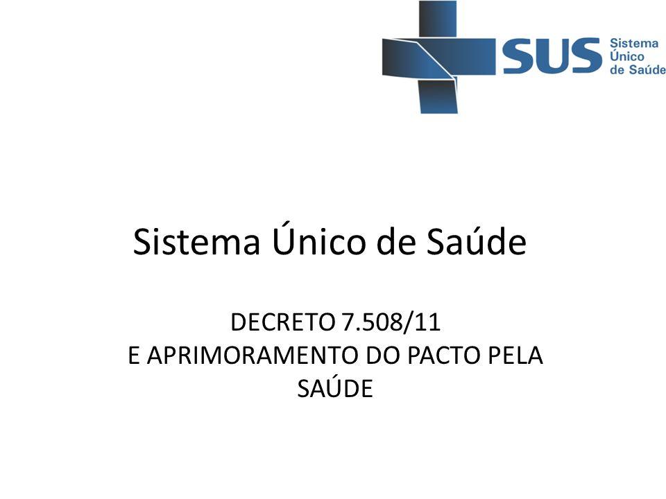 Sistema Único de Saúde DECRETO 7.508/11 E APRIMORAMENTO DO PACTO PELA SAÚDE