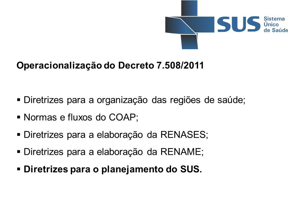 Operacionalização do Decreto 7.508/2011 Diretrizes para a organização das regiões de saúde; Normas e fluxos do COAP; Diretrizes para a elaboração da R