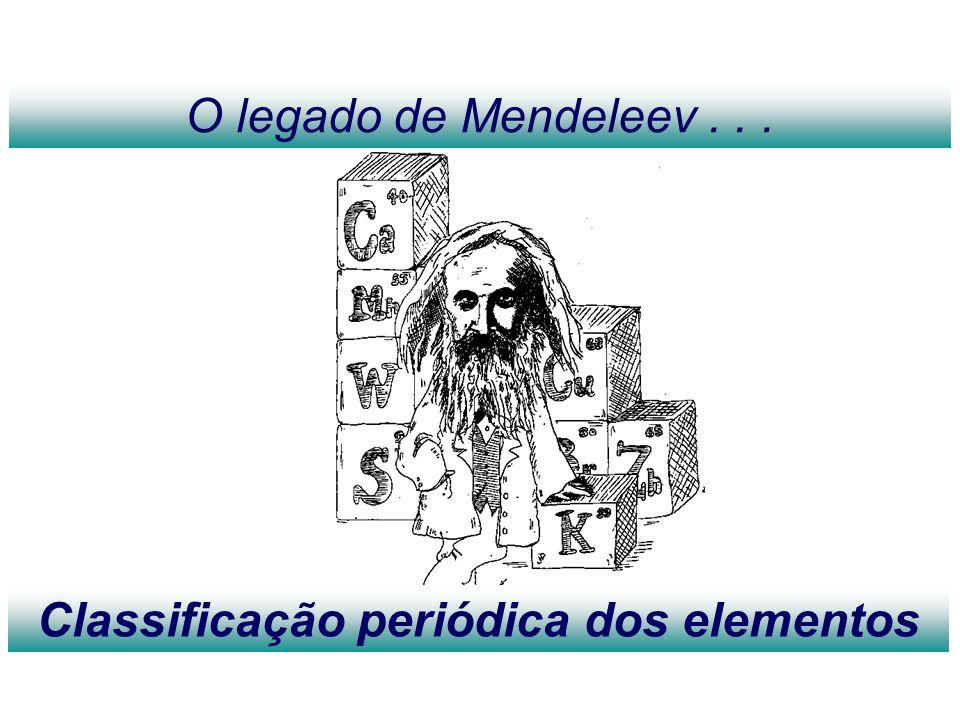 O legado de Mendeleev... Classificação periódica dos elementos