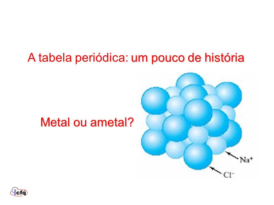 um pouco de história A tabela periódica: um pouco de história Metal ou ametal?