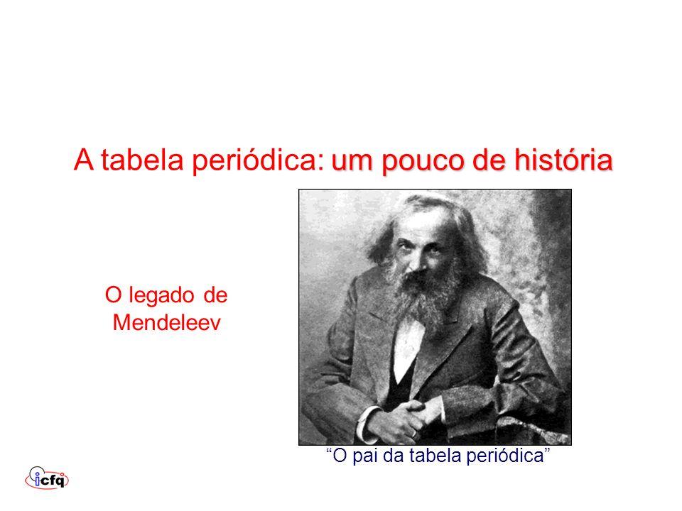 um pouco de história A tabela periódica: um pouco de história O legado de Mendeleev O pai da tabela periódica