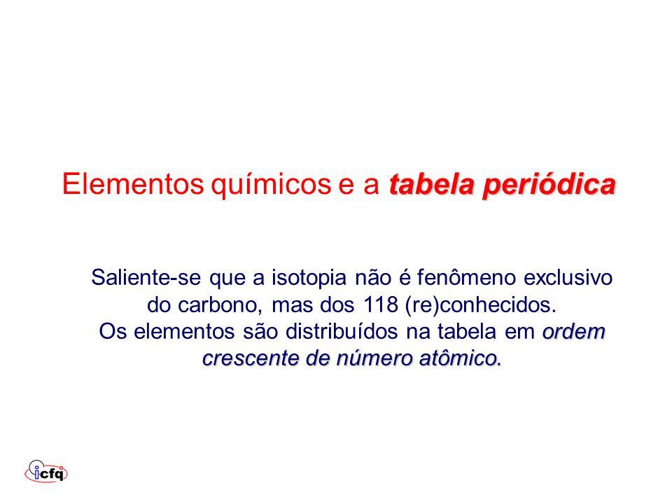 tabela periódica Elementos químicos e a tabela periódica Saliente-se que a isotopia não é fenômeno exclusivo do carbono, mas dos 118 (re)conhecidos. o