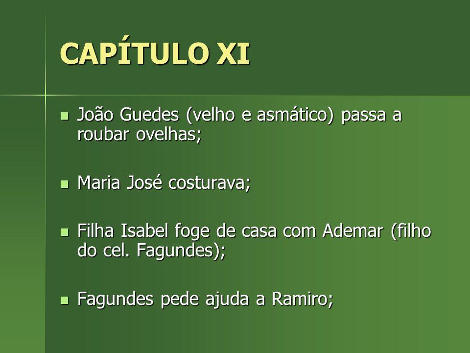 CAPÍTULO XI João Guedes (velho e asmático) passa a roubar ovelhas; João Guedes (velho e asmático) passa a roubar ovelhas; Maria José costurava; Maria