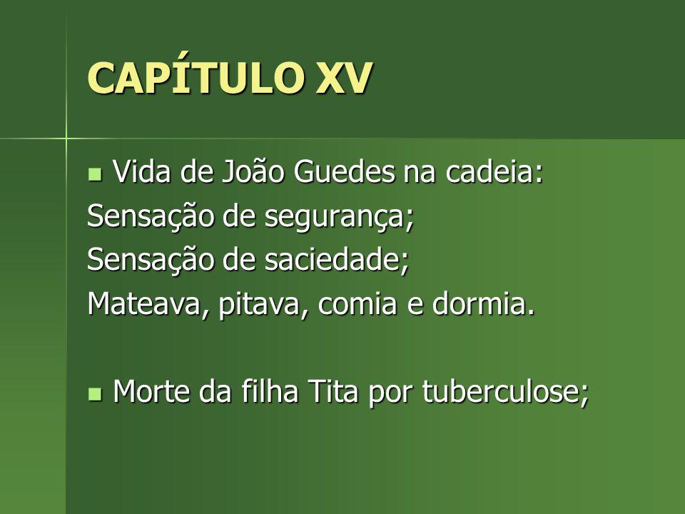 CAPÍTULO XV Vida de João Guedes na cadeia: Vida de João Guedes na cadeia: Sensação de segurança; Sensação de saciedade; Mateava, pitava, comia e dormi