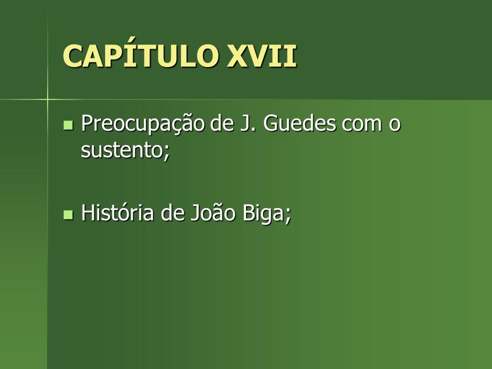 CAPÍTULO XVII Preocupação de J. Guedes com o sustento; Preocupação de J. Guedes com o sustento; História de João Biga; História de João Biga;