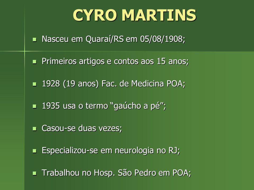 CYRO MARTINS 1951 vai a Buenos Aires especializar-se em psicanálise; 1951 vai a Buenos Aires especializar-se em psicanálise; 1957, é eleito presidente da Sociedade de Neurologia, Psiquiatria e Neurocirurgia; 1957, é eleito presidente da Sociedade de Neurologia, Psiquiatria e Neurocirurgia; De 1958 a 1964 tem vários trabalhos científicos traduzidos para o espanhol e o alemão.