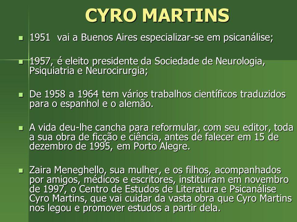 CYRO MARTINS 1951 vai a Buenos Aires especializar-se em psicanálise; 1951 vai a Buenos Aires especializar-se em psicanálise; 1957, é eleito presidente