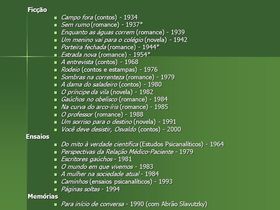 Ficção Ficção Campo fora (contos) - 1934 Campo fora (contos) - 1934 Sem rumo (romance) - 1937* Sem rumo (romance) - 1937* Enquanto as águas correm (ro