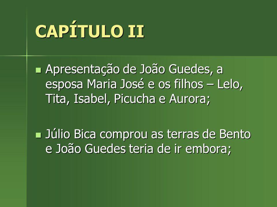 CAPÍTULO III e IV Maria José fica sabendo que terá de ir embora; Maria José fica sabendo que terá de ir embora; João Guedes fica muito triste e devaneia; João Guedes fica muito triste e devaneia;