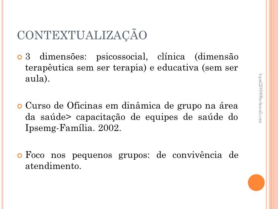 CONTEXTUALIZAÇÃO 3 dimensões: psicossocial, clínica (dimensão terapêutica sem ser terapia) e educativa (sem ser aula). Curso de Oficinas em dinâmica d