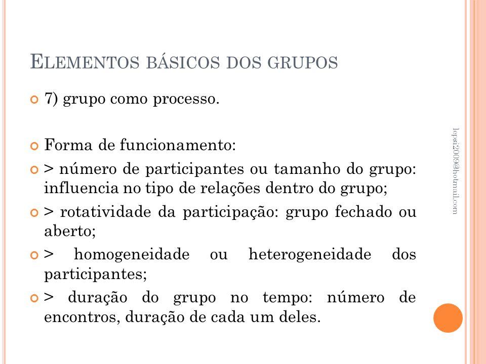E LEMENTOS BÁSICOS DOS GRUPOS 7) grupo como processo. Forma de funcionamento: > número de participantes ou tamanho do grupo: influencia no tipo de rel