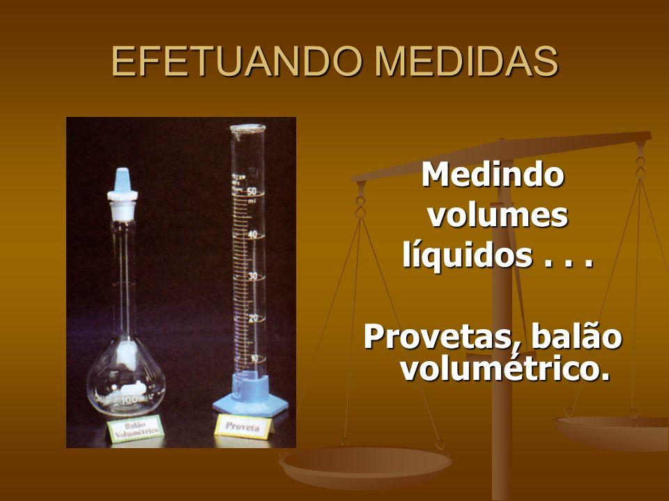 EFETUANDO MEDIDAS Medindo volumes volumes líquidos... líquidos... Provetas, balão volumétrico.