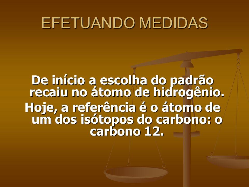EFETUANDO MEDIDAS De início a escolha do padrão recaiu no átomo de hidrogênio. Hoje, a referência é o átomo de um dos isótopos do carbono: o carbono 1
