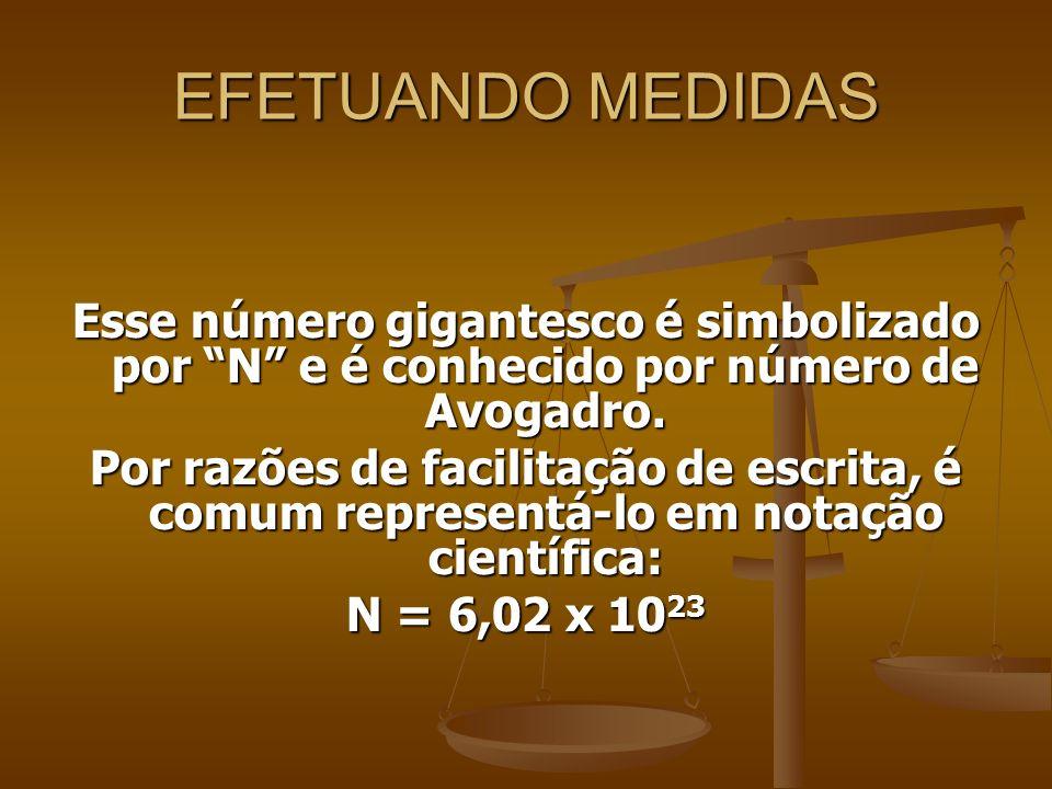 EFETUANDO MEDIDAS Esse número gigantesco é simbolizado por N e é conhecido por número de Avogadro. Por razões de facilitação de escrita, é comum repre