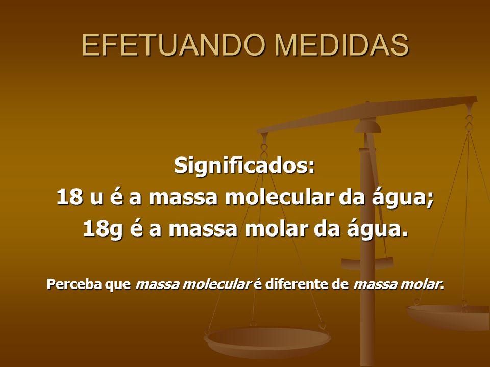 EFETUANDO MEDIDAS Significados: 18 u é a massa molecular da água; 18g é a massa molar da água. Perceba que massa molecular é diferente de massa molar.
