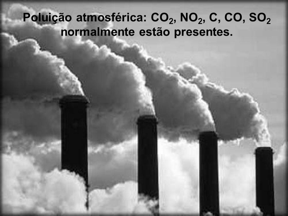 Poluição atmosférica: CO 2, NO 2, C, CO, SO 2 normalmente estão presentes.