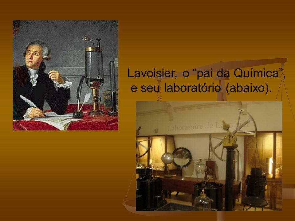 Lavoisier, o pai da Química, e seu laboratório (abaixo).