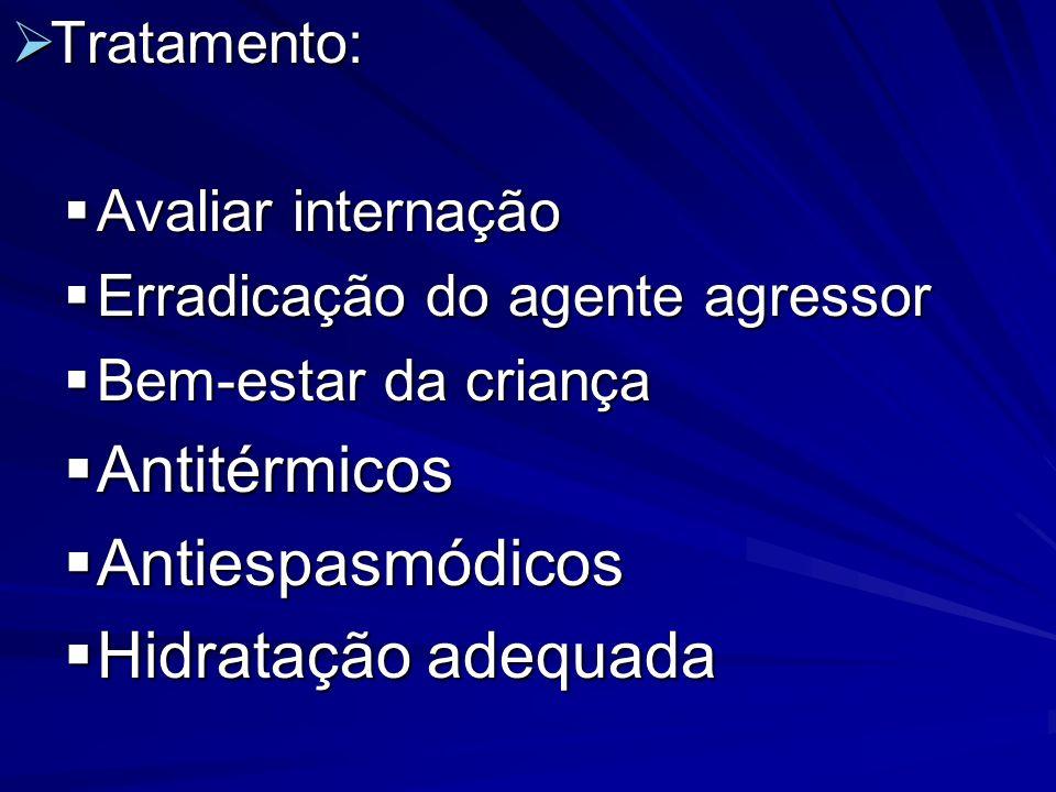 Tratamento: Tratamento: Avaliar internação Avaliar internação Erradicação do agente agressor Erradicação do agente agressor Bem-estar da criança Bem-e