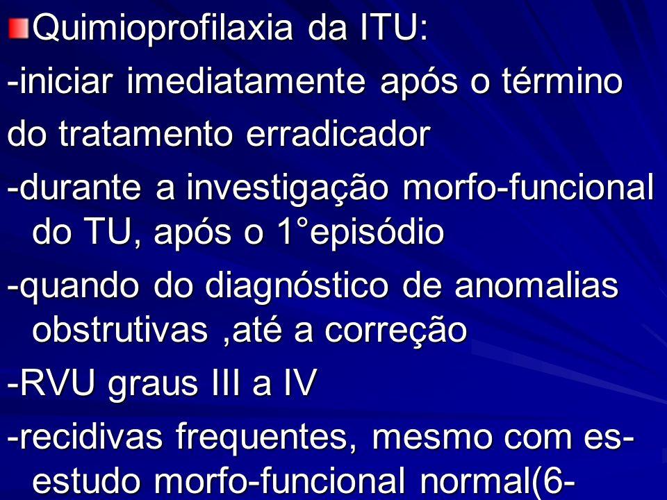 Quimioprofilaxia da ITU: -iniciar imediatamente após o término do tratamento erradicador -durante a investigação morfo-funcional do TU, após o 1°episó