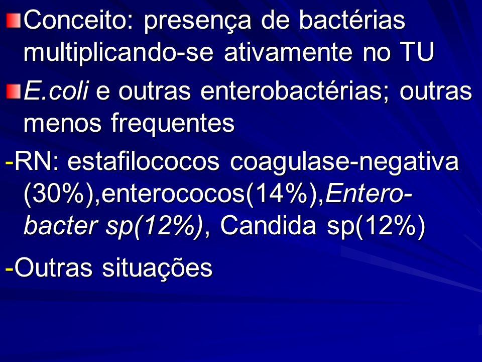 Recém nascidos e lactentes: sempre mais graves: -iniciar como na sepse: penicilina ou ampicilina+aminoglicosídeo -iniciar como na sepse: penicilina ou ampicilina+aminoglicosídeo -estafilococos coagulase negativa e en- terococos: v ancomicina+aminogli- cosídeo - Candida : a nfotericina; fluconazol+ flucitosina