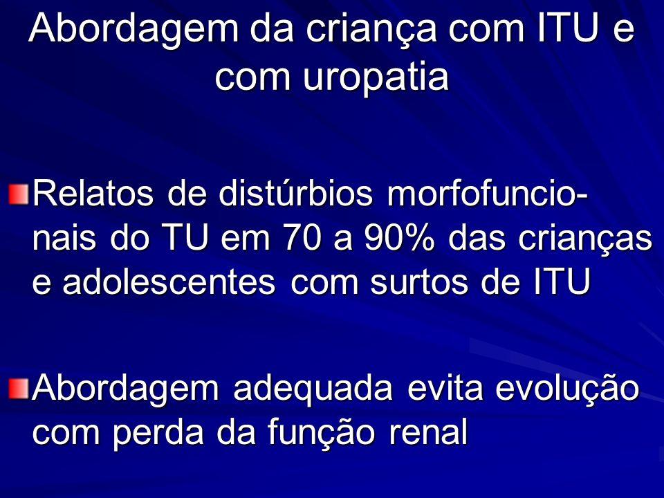 Abordagem da criança com ITU e com uropatia Relatos de distúrbios morfofuncio- nais do TU em 70 a 90% das crianças e adolescentes com surtos de ITU Ab