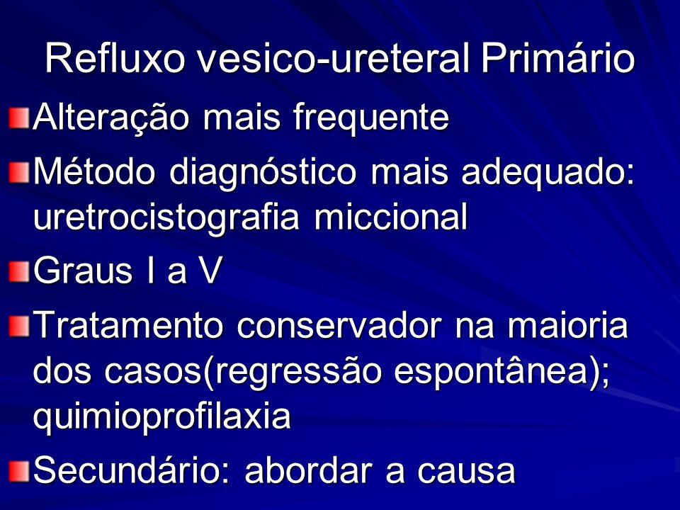 Refluxo vesico-ureteral Primário Alteração mais frequente Método diagnóstico mais adequado: uretrocistografia miccional Graus I a V Tratamento conserv