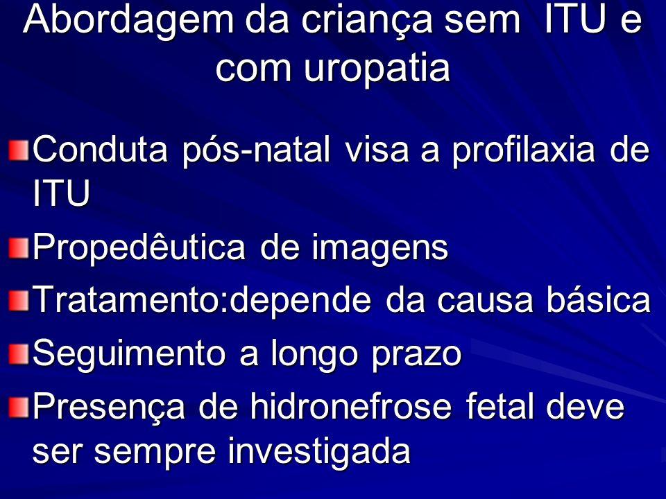 Abordagem da criança sem ITU e com uropatia Conduta pós-natal visa a profilaxia de ITU Propedêutica de imagens Tratamento:depende da causa básica Segu