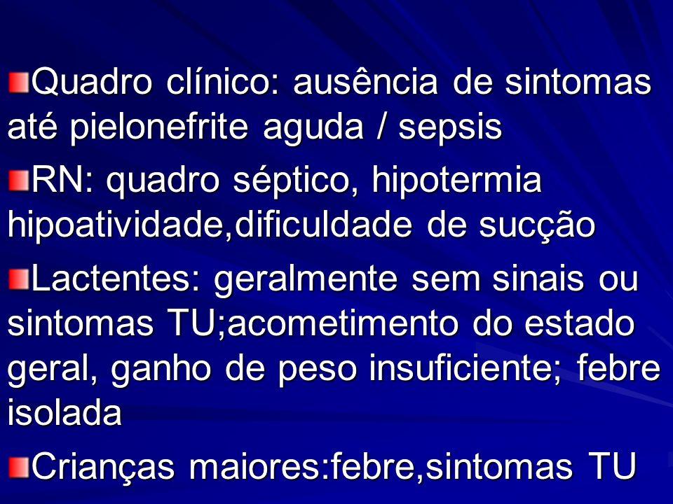 Bacteriúria assintomática: -mais frequente em meninas -mais frequente em meninas -3 uroculturas consecutivas (3-15 dias) com bacteriúria significativa -3 uroculturas consecutivas (3-15 dias) com bacteriúria significativa -transitória ou persistente: 95% das escola- res, em 1ano, têm remissão espontânea