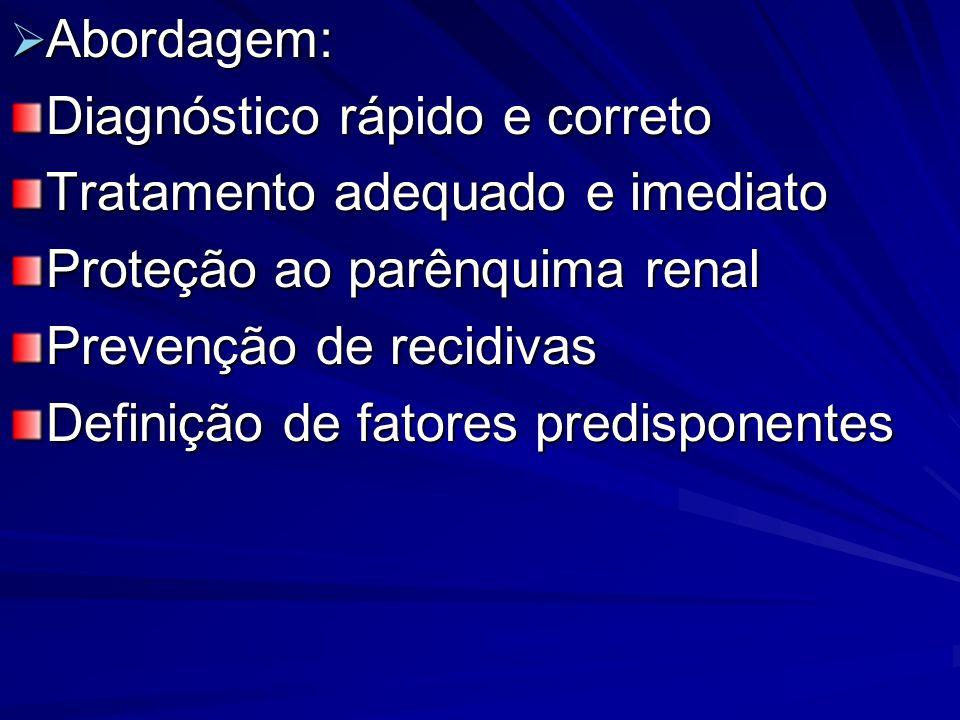 Abordagem: Abordagem: Diagnóstico rápido e correto Tratamento adequado e imediato Proteção ao parênquima renal Prevenção de recidivas Definição de fat