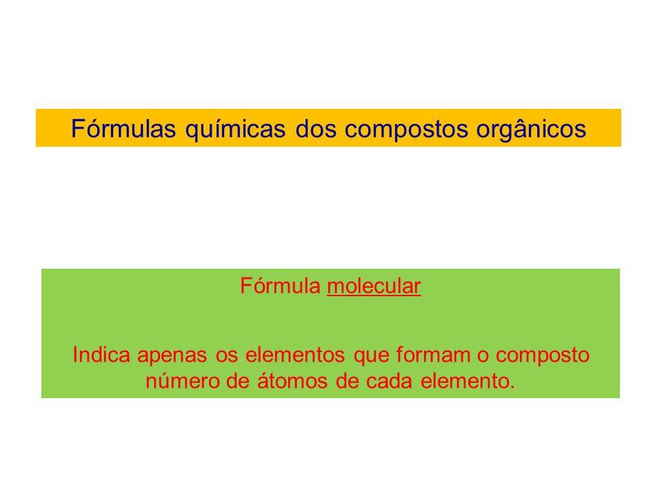 Fórmulas químicas dos compostos orgânicos Exemplo de fórmula molecular E t a no C 2 H 6