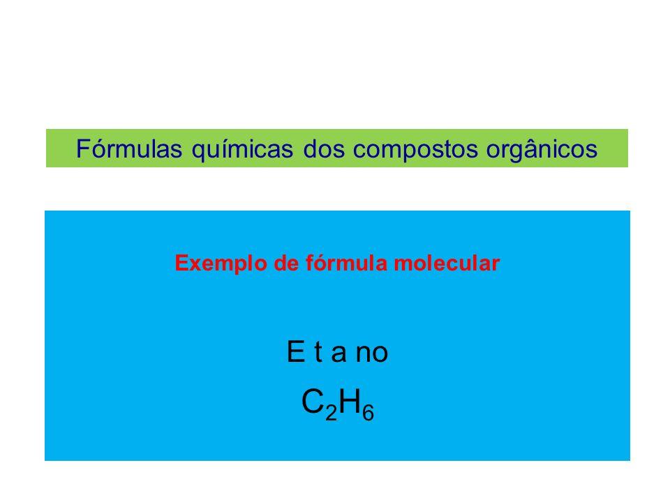 Fórmulas químicas dos compostos orgânicos Fórmula estrutural plana Indica a distribuição plana dos átomos que formam a molécula.