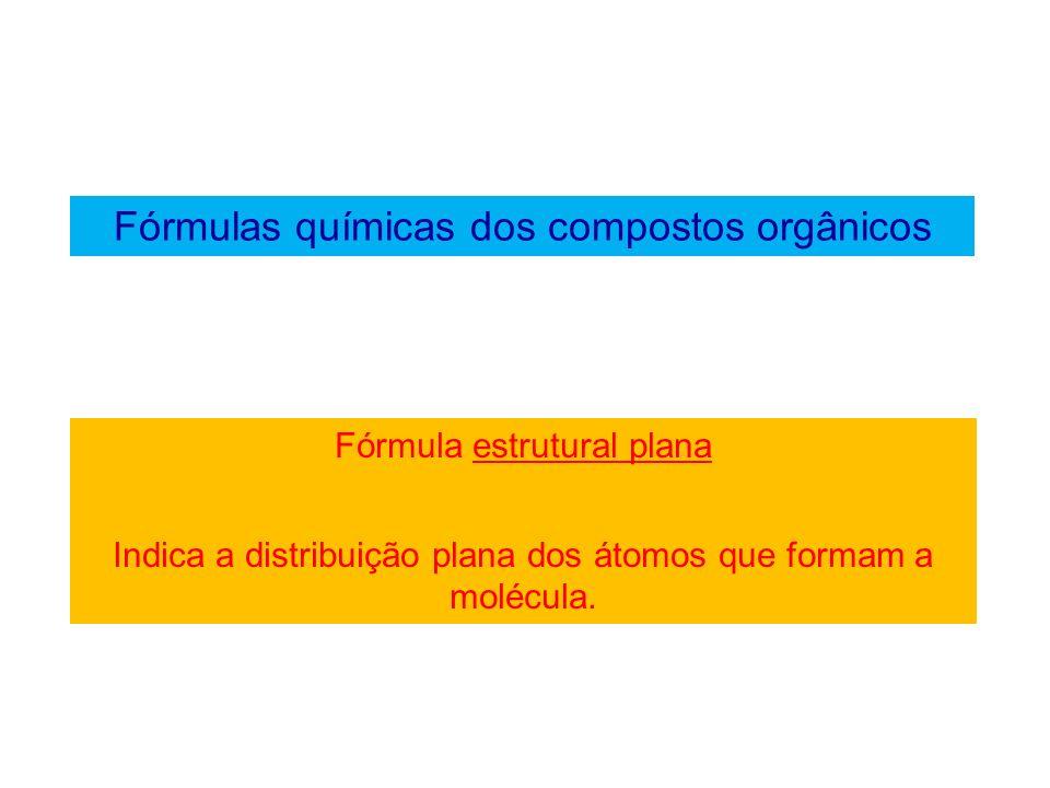 Fórmulas químicas dos compostos orgânicos Exemplo de fórmula estrutural plana Etano