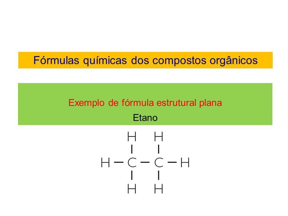 Fórmulas químicas dos compostos orgânicos Fórmula estrutural plana condensada A quantidade de hidrogênios ligados aos carbonos são escritos na forma de índices.