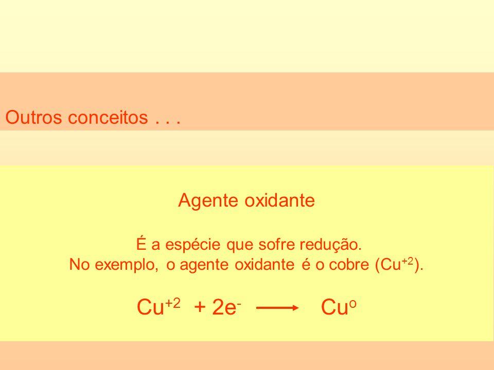 Outros conceitos... Agente oxidante É a espécie que sofre redução. No exemplo, o agente oxidante é o cobre (Cu +2 ). Cu +2 + 2e - Cu o