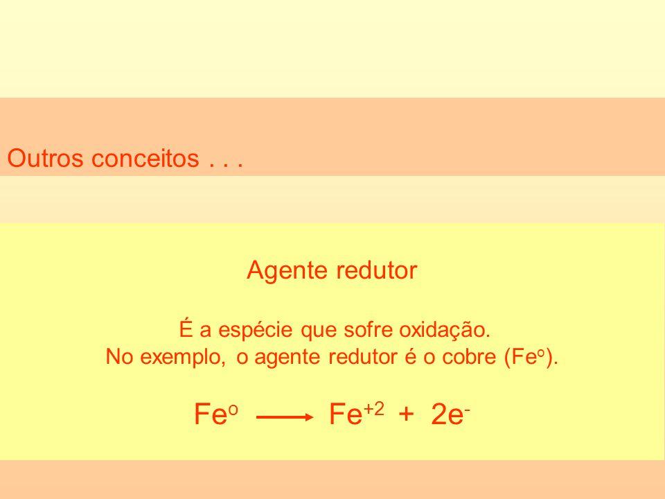 Outros conceitos... Agente redutor É a espécie que sofre oxidação. No exemplo, o agente redutor é o cobre (Fe o ). Fe o Fe +2 + 2e -