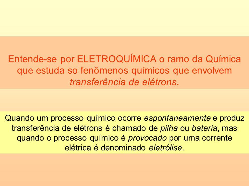 Entende-se por ELETROQUÍMICA o ramo da Química que estuda so fenômenos químicos que envolvem transferência de elétrons. Quando um processo químico oco