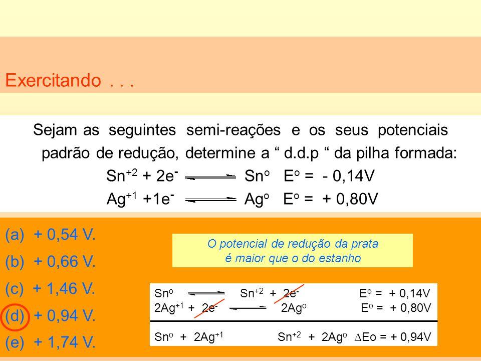 Exercitando... Sejam as seguintes semi-reações e os seus potenciais padrão de redução, determine a d.d.p da pilha formada: Sn +2 + 2e - Sn o E o = - 0