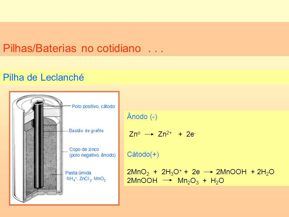 Pilhas/Baterias no cotidiano... Pilha de Leclanché Ânodo (-) Zn o Zn 2+ + 2e - Cátodo(+) 2MnO 2 + 2H 3 O + + 2e 2MnOOH + 2H 2 O 2MnOOH Mn 2 O 3 + H 2