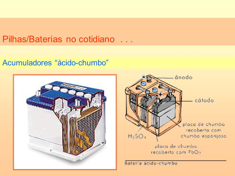 Pilhas/Baterias no cotidiano... Acumuladores ácido-chumbo