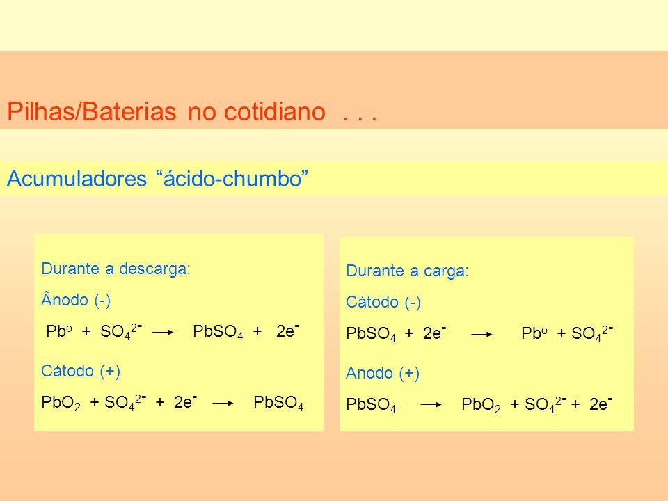 Pilhas/Baterias no cotidiano... Acumuladores ácido-chumbo Durante a descarga: Ânodo (-) Pb o + SO 4 2 - PbSO 4 + 2e - Cátodo (+) PbO 2 + SO 4 2 - + 2e