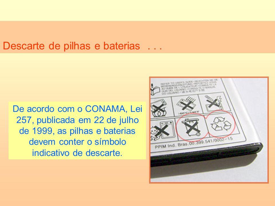 Descarte de pilhas e baterias... De acordo com o CONAMA, Lei 257, publicada em 22 de julho de 1999, as pilhas e baterias devem conter o símbolo indica